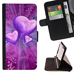 For Samsung Galaxy S5 Mini, SM-G800 - Love Purple Heart /Funda de piel cubierta de la carpeta Foilo con cierre magn???¡¯????tico/ - Super Marley Shop -