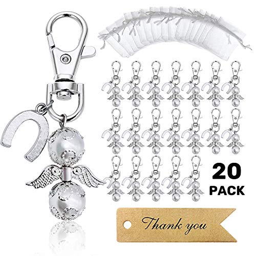 MOVINPE 20 Angel Favor Lucky Horseshoe Keychains Plus Organza Bags Plus Thank You Kraft Tags, Guest Favors for Baby Shower, Bridal Shower, Wedding, Party Favors (Silvery)