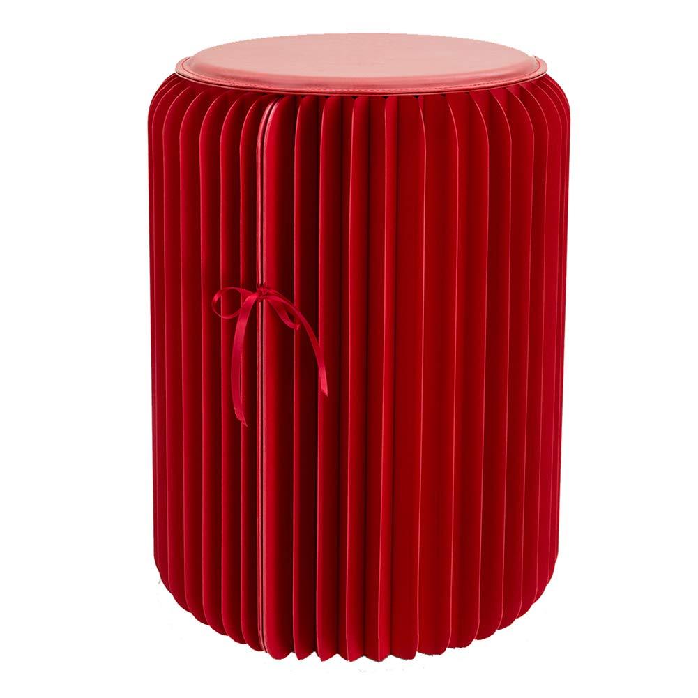 FSJJR Rojo Plegable Taburete Bajo Silla Creatividad Creatividad Creatividad Multifuncional Muebles Papel Kraft Material Ahorro de Espacio significativo No Requiere ensamblaje,35cm b21561
