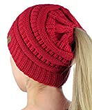 CC Womens Ponytail Beanie Hat Chunky Knit BeanieTail (Small Image)