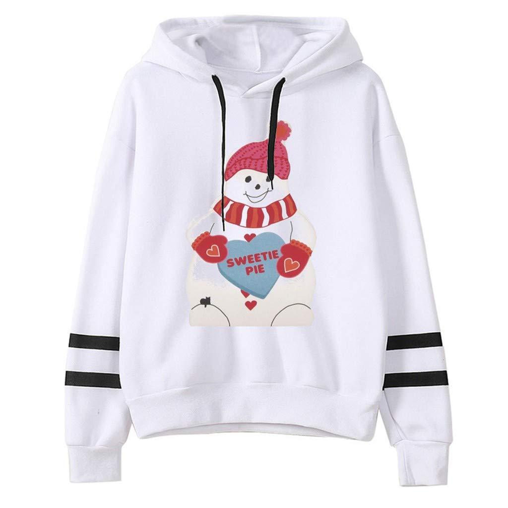 Get Here SPORTTIN Christmas Hoodies for Women Striped Sleeve Pullover Santa Claus Snowman Print Ugly Xmas Sweatshirt