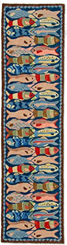 Handmade 100% Wool Decorative Nautical Nantucket Beach House Coastal Shore Marine Fish Ocean Fishing Hooked Runner Hallway Rug. 2' x 8'. by NeedlepointPillows.com