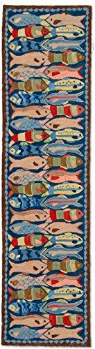 Handmade 100% Wool Decorative Nautical Nantucket Beach House Coastal Shore Marine Fish Ocean Fishing Hooked Runner Hallway Rug. 2' x 3'.