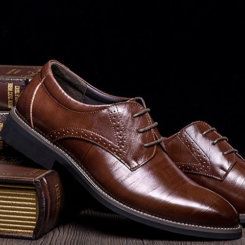 Buganda Mens Business Brogue Oxford Pointed Toe Shoes Lace Up Leather Classic Shoes Brown TtK88