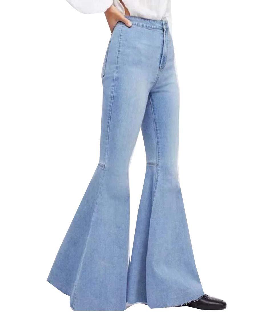 Women's Long Leisure Bell Bottom Pants Cozy Wide-Leg Jeans Pants Light Blue M