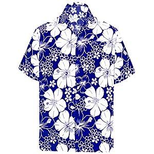 LA LEELA Funky Chemise Hawaïenne | Hommes | Manche-Courte | Poche-Avant | Hawaiian-Imprimer | Hibiscus | Floral | Fleurs…