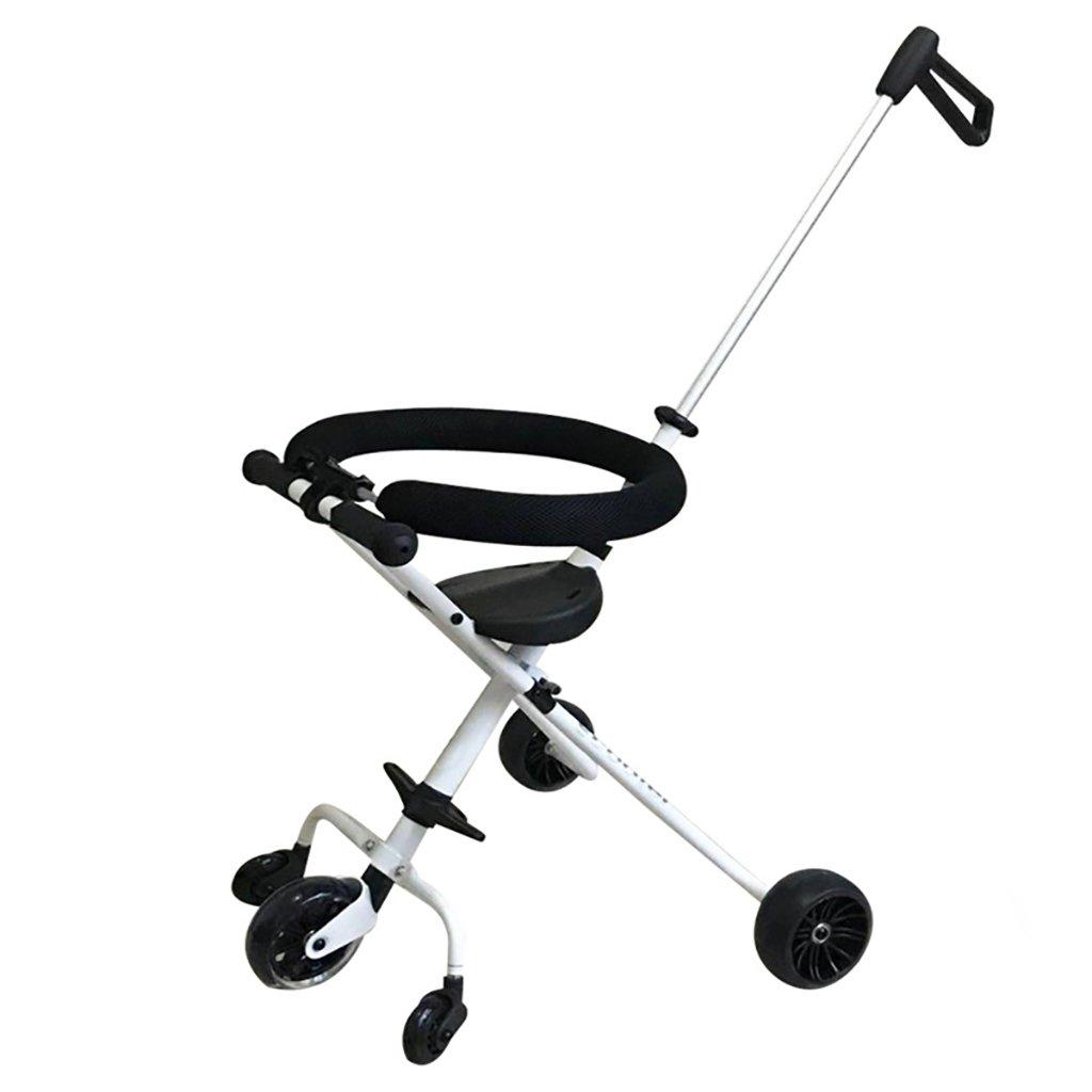 シャントチャイルドの5ラウンドArtifact Child TricycleポータブルフォールディングシンプルなトロリーEva Waチャイルドアーティファクト (色 : 白)  白 B07FTD7L7G