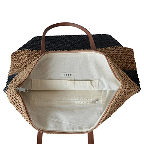 Stripes Bag Bag Woven for Stripes Bag Tote Beach Large Summer Shoulder Straw Women Hobo Holiday Black wEq4cWRZ