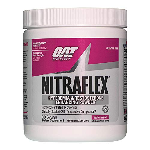GAT Clinically Tested Nitraflex, Testosterone Enhancing Pre Workout, Watermelon, 300 ()