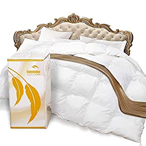Cocoon Premium Luxurious Goose Down Comforter 100% Egyptian Cotton Thread 750+ Fill Power - Siberian Goose Feathers All Season Down Comforter Hypo-Allergenic Down Duvet by Cocoon Group