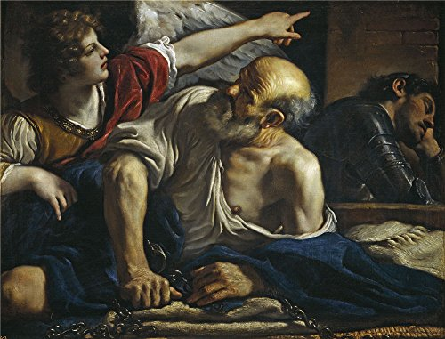 The High Quality Polyster Canvas Of Oil Painting 'Guercino Saint Peter Freed By An Angel 1620 23 ' ,size: 16 X 21 Inch / 41 X 53 Cm ,this Cheap But High Quality Art Decorative Art Decorative Canvas Prints Is Fit For Garage Decoration And Home Decoration And Gifts