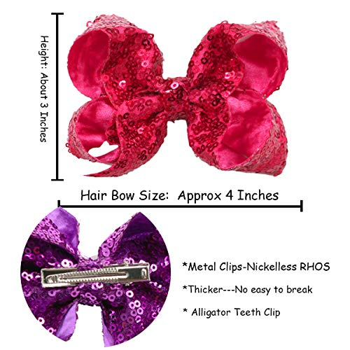 """Tooth Fairy Hair Bows Pink /& Silver Glitter Bow Clips 4/"""""""