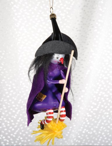 De Carlini Halloween Witch Italian Glass Mouthblown Christmas Ornament]()