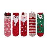 LINEMIN Women Girls Super Soft Warm Cute 3D Animals Slipper Sleeping Winter Crew Fuzzy Socks Value Pack (5 Pack Christmas Style)