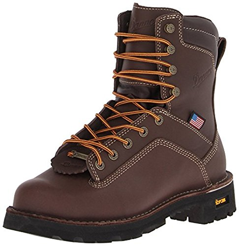 Danner Quarry USA 8'' Brown AT (Alloy Toe) Vibram Sole Oil & Slip Resistant | Made In USA Waterproof Gore-TEX (GTX) | Modern Battlefield Combat Boot | Electrical Hazard Boot Leather (12 EE)