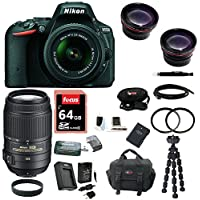 Nikon D5500 DSLR Camera (Black) with 4 Lens Kit: 18-55, 55-300 VR, and 52mm Wide & Tele Lenses plus Filters & 64GB Accessory Bundle At A Glance Review Image