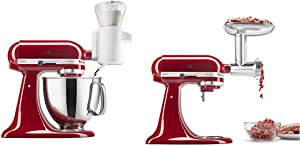 KitchenAid KSMSFTA Sifter + Scale Attachment, 4 Cup, White & KSMMGA Metal Food Grinder Attachment, 2.5 lb, Silver
