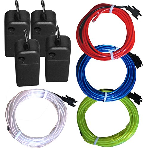 4 Pack - TDLTEK Neon Glowing Strobing Electroluminescent Wire/El Wire(Blue, Green, Red, White) + 3 Modes Battery Controllers ()