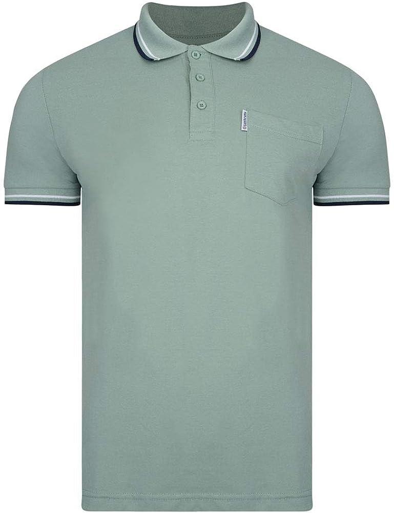 Lambretta - Camiseta de Manga Corta para Hombre Sage - Doble Punta ...