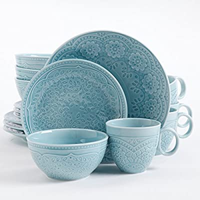 Gibson Elite Alemany 16 Piece Dinnerware Set, Aqua - The detailed Gibson Elite Alemany 16 Piece dinnerware set Material: Ceramic Includes: 4 - 10.5 inch Dinner Plates; 4 - 8.5 inch Dessert Plates; 4 - 6 inch Bowls & 4 - 15 oz Mugs - kitchen-tabletop, kitchen-dining-room, dinnerware-sets - 518m3fP4ooL. SS400  -