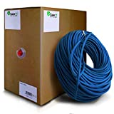 GearIT 1000 Feet Bulk Cat5e Riser Rated (CMR) Ethernet Cable - Cat 5e 350Mhz 24AWG UTP Solid Full Copper Wire Pull Box, Blue