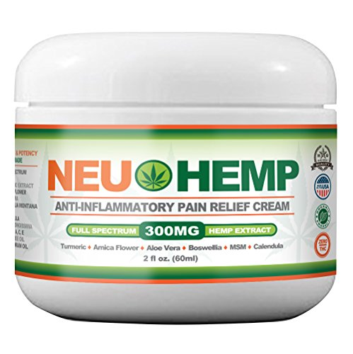 Organic Pain Relieving with 300mg Full Spectrum Hemp Extract Cream for Sunburn Skin Nerve Damage Relief Support Knee Joint Lower