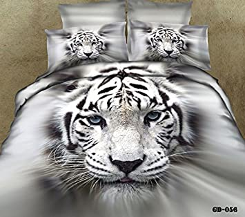 3D Parure de lit Blanc Tigre Blanc Really 4567pcs Drap housse
