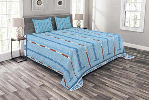 Lunarable Blue Bedspread, Sports Competition Theme Swimming Pool with Lanes Aquatic Pictogram Image, Decorative Quilted 3 Piece Coverlet Set with 2 Pillow Shams, King Size, White Aqua