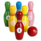 Kids Bowling Play Set Wooden Colorful Bowling Pins with Numbers Indoor & Outdoor Sports Bowling Games Educational Toys for Toddlers Children