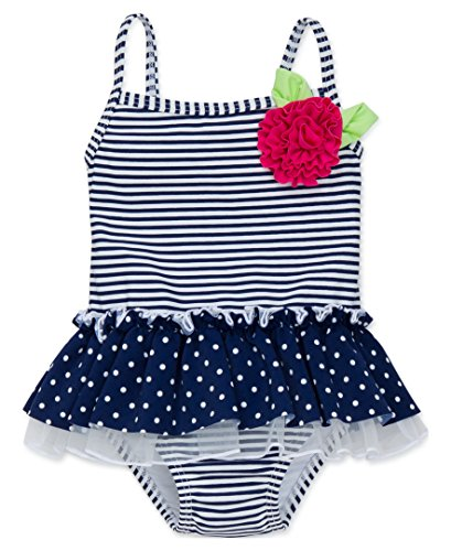 Little Me Toddler Girls' One Piece Swimsuit, Navy Stripe, 3T