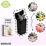 SOHILIO Folding Stainless Steel Drinking Straw | Reusable, Collapsible and Eco-friendly TPE/Food Grade Silicone Straws | Portable with Hard Case & Cleaning Brush (Black)