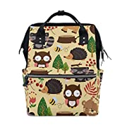 ALIREA Woodland Light Background Diaper Bag Backpack, Large Capacity Muti-Function Travel Backpack