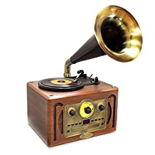 PYLE-HOME PVNP30BT Bluetooth Classic Style Record Player Turntable with USB/SD Card Readers, AM/FM Radio and CD Player