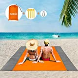 ISOPHO Beach Blanket Beach Mat Sand Free Waterproof Extra Large Lightweight Beach mat Outdoor Oversized Packable 6.9 ft×6.5 ft for Beach Party Orange Gray 210T Polyester