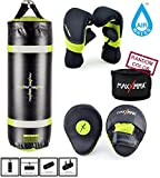MaxxMMA Training & Fitness Heavy Bag + Neon Yellow Washable Heavy Bag Gloves L/XL & Punching Mitts + Bamboo Hand Wrap