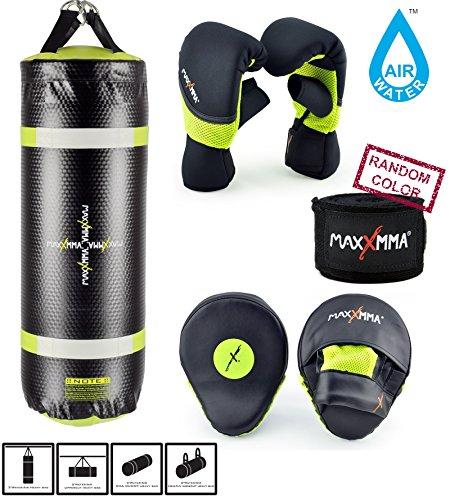 MaxxMMA Training & Fitness Heavy Bag + Neon Yellow Washable Heavy Bag Gloves L/XL & Punching Mitts + Bamboo Hand Wrap by MaxxMMA