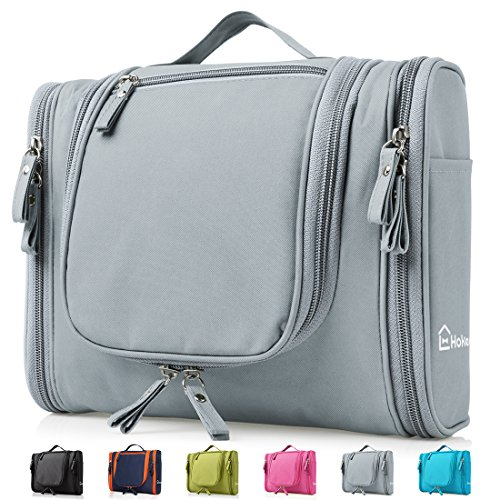 Heavy Duty Waterproof Hanging Toiletry Bag - Travel Cosmetic Makeup Bag for Women & Shaving Kit Organizer Bag for Men - Large Size: 10.2 x 4.5 x 8.5 Inch (Grey) -