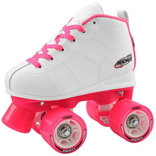 Rink The Pink At (Crazy Skates Rocket Roller Skates for Girls | A Great Beginner Skate with Supportive Fit and Smooth Braking | White and Pink)
