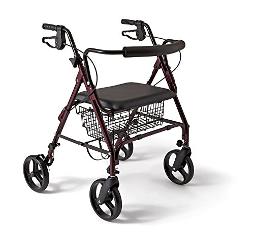 (Medline Heavy Duty Bariatric Aluminum Mobility Rollator Walker with 8 Inch Wheels, 400 lbs Capacity)