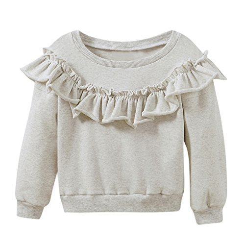 Birdfly Baby Girls Cute Ruffle Sweatshirt Pullover Toddler Long Sleeve Tees Top Trendy Outfit (Gray, 3T)