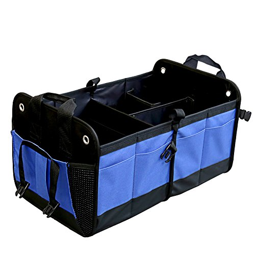 Premium Trunk Organizer, SCOPOW Durable Collapsible Cargo Foldable Storage Waterproof Non Slip Bottom Strip Auto Container With Multipurpose 11 Pocket For Car SUV Truck Minivan Home