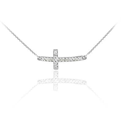 Amazon 14k white gold diamond sideways cute curved cross amazon 14k white gold diamond sideways cute curved cross necklace 16 inches pendant necklaces jewelry aloadofball Gallery