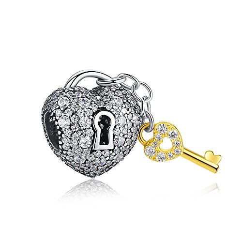 ANGELFLY Authentic 925 Sterling Silver Lock and Key Heart Shape Bead Charms fits Pandora Bracelets Birthday Anniversary Graduation Mothers Day Gifts for Women Girl Wife Gift for her Shape Dangle Charm