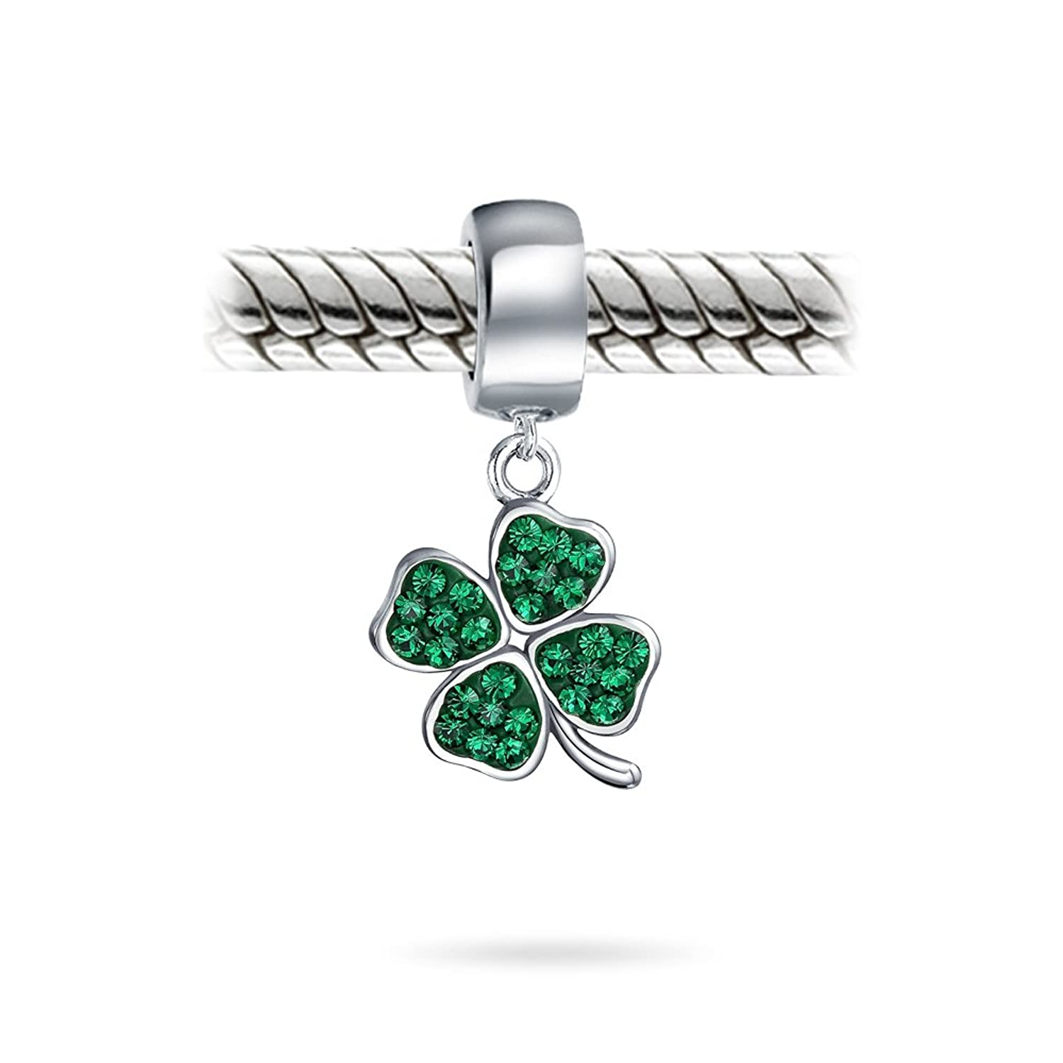 Green lucky shamrock necklace four leaf clover charm emerald green - Amazon Com Bling Jewelry 925 Silver Green Crystal Shamrock 4 Leaf Clover Dangle Bead Charm Jewelry