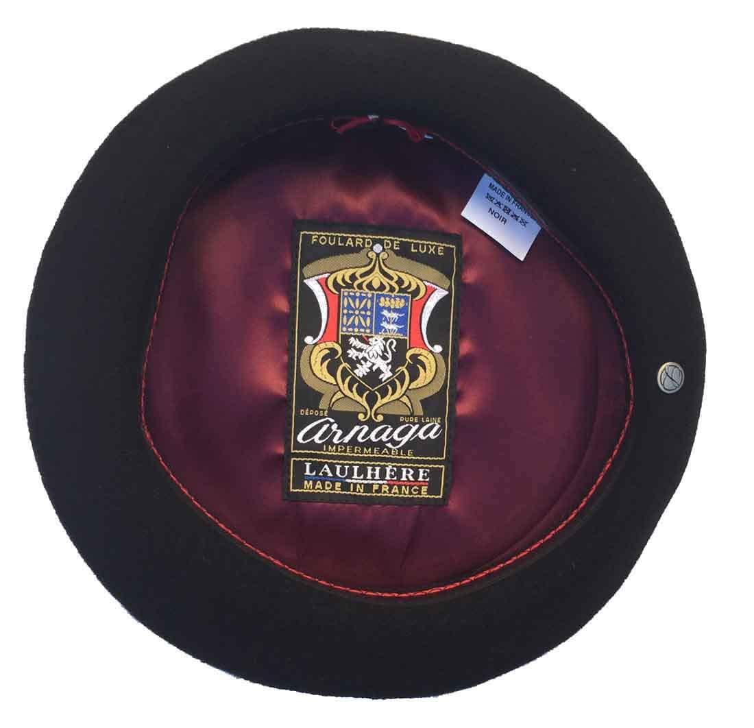 Laulhere Heritage ARNAGA 10'' Diameter French Anglobasque Wool Beret, Black, 62
