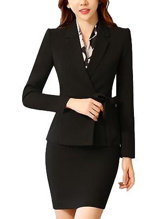 20bb3b1f61747 SK Studio Femmes Vestes De Tailleur Jupe De Bureau Longues Manches Costume  Ensemble Blazer Avec Jupe Noir Blazer + Jupe 34 L  Amazon.fr  Vêtements et  ...