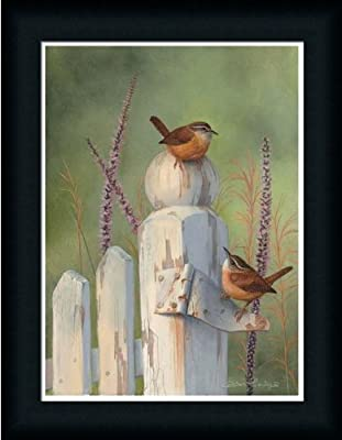 Wrens On Fence Post Art Print Framed