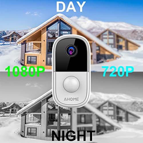AHOME C1 Wireless Rechargeable Battery Powered Outdoor Security Camera / Indoor Baby Monitor with PIR Motion Detection, Waterproof 1080P Night Vision, 2-Way Audio, 2.4Ghz WiFi, Cloud Storage - White