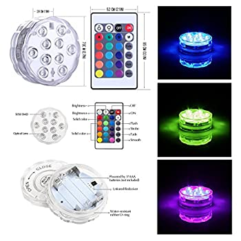 Submersible LED Lights 4 Pack-Battery Powered IR Remote Controlled RGB Color Changing Waterproof Underwater Pool Light