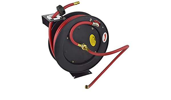 Retractable 50ft Air hose on Reel 3//8 BSP Spring Rewind Wall Mountable BSP TE524
